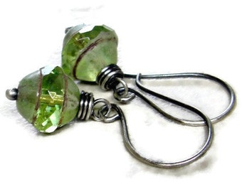 Olive Green Earring Wire Wrapped Earring Eco Friendly Jewelry Glass Saucers Sterling Silver Earrings Gifts for Her