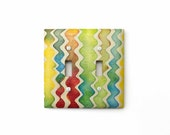 Double Switch Plate, Colorful Zigzag, Handmade Paper, Batik Switch Cover, Light Switch Cover, Modern, Children's Room, Wall Art
