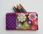 ZIPPER POUCH for Pencils, Make up, Coupons, Rectangle Zipper Bag, Purple Peace Flowers
