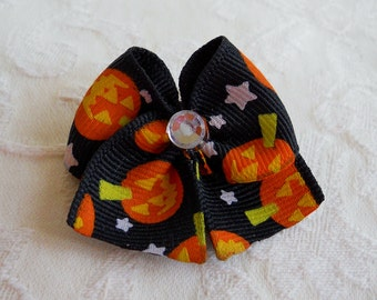 Dog Bow-  Midnight Pumpkins Sweetheart Bow