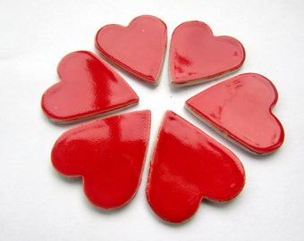 6 mosaic heart tiles, handmade red, ceramic shapes