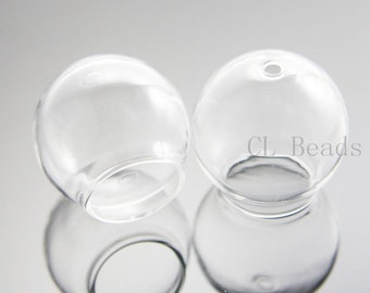 4pcs Clear Glass Cover - Two Holes 30x20mm (383C)