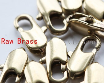 10pcs Raw Brass Round Lobster Clasp - Lobster Claw 12mm (336C-I-325)