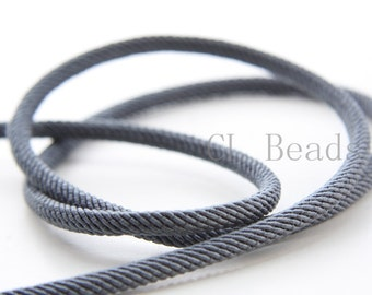 3 Feet Dark Grey Braided Fabric Cord-Round 4mm (ML221401720)