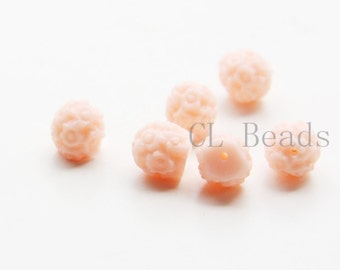 10pcs Acrylic Flower Cabochons with Two Holes - Pink 8mm (38F2)