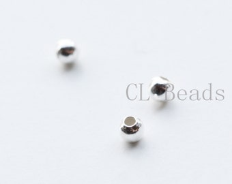 40pcs Sterling Silver Round Beads - 2mm
