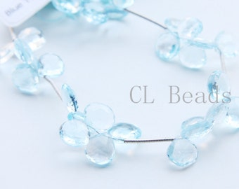 One Strand (6 Inches) Natural Blue Topaz Stone-Faceted Tear 9.7x9.2mm (16)