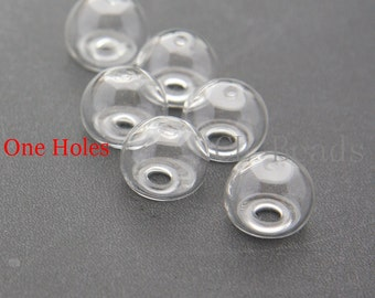 6pcs Hand Blown Hollow Glass Beads-Clear Glass Cover 14x11mm with 4mm hole - One Hole (49H1411)