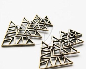 2pcs Antique Brass Plated Base Metal Pendant - Arrow - Triangle 58x38mm (1445C-U-174)