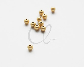 10pcs Matte Gold Plated Brass Base Ball Spacer - 4mm (1732C-U-220)