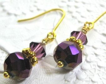 Purple Crystal and Gold Earrings. Deep Purple Crystal Drop Earrings