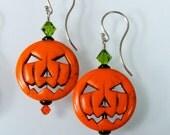 Swarovski Crystal Magnesite Orange Halloween Jack-O-Lantern Earrings Sterling Silver French Wires