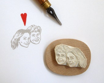 Custom Portrait invitations / face stamp / hand carved rubber / for bridal personalized stationery favor marriage gift couple engagement etc