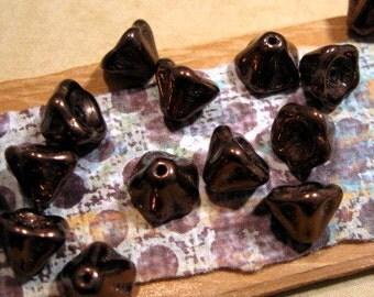 Czech Glass Bronze Bell Flower 6x8mm Beads - 25 Count