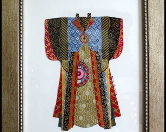KIMONO PAPER COLLAGE with gold frame by Lauretta Lowell