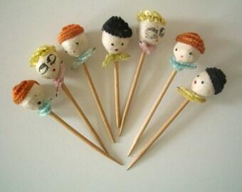 Vintage Cake Picks with Miniature Heads