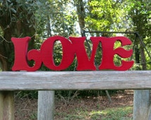 wooden love wall hanging sign or shelf sitter or choice of colors