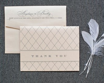 Blush Pink Wedding Thank You Cards - Romantic Vintage   -  Angelique and Bradley