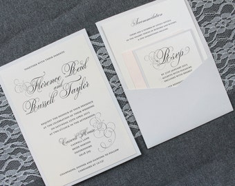 Blush Pink Wedding Invitation, Pocket Invitation, Silver Wedding Invitation, Gray Invite, Grey Invitation, Vintage - Florence and Russell