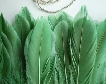 GOOSE FEATHER FRINGE, Clover Green / 823