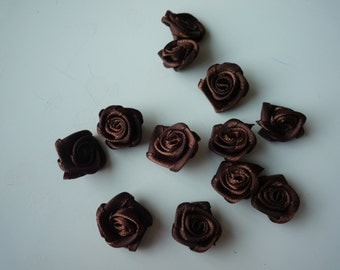 RIBBON FLOWERS ,  Chocolate Brown  , 12 pieces / 582