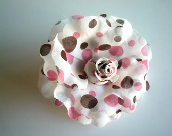 POLKA DOT  Flower ,  Pink and Brown  / FL - 06
