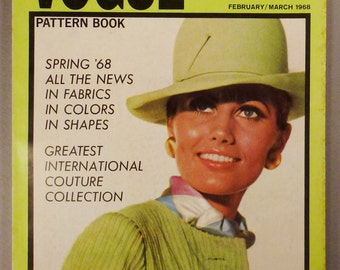 Vintage VOGUE Pattern Book Fashion FEBRUARY MARCH 1968  Rare great Condition