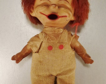 Vintage MOD BRAT DOLL jApan Pat.104 994, 1960s Shabby boy red haired 7in tall hobo outfit