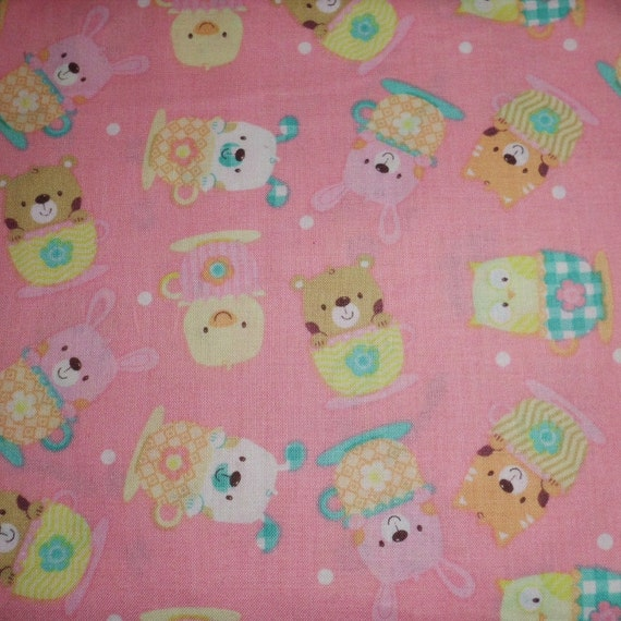 Teacup animals nursery print cotton fabric sold by 1 2 yard for Nursery print fabric