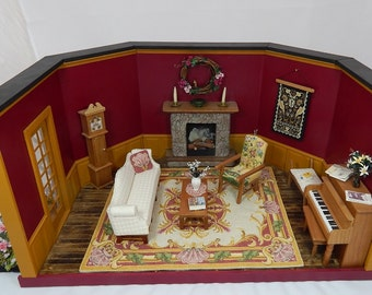 Miniature OOAK Roombox - Fancy Living Room in 1:12 Scale Handmade