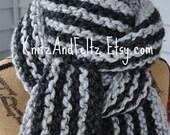Grey Striped Scarf Chunky - Mens Long Scarf - Womens Knit Wool Winter Neckwarmer - Warm Teen Scarf - Dark Charcoal Grey - Light Marble Gray