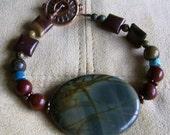 Red Creek Jasper, Turquoise, and Copper Artisan Bracelet, Gemstone Bracelet, Jasper Bracelet, South Western Bracelet, Rustic Bracelet