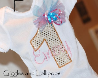 Girls personalized 1st birthday bodysuit shirt