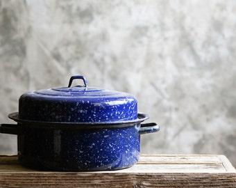 Vintage Roasting Pan Dutch Oven Speckled Blue Enamel
