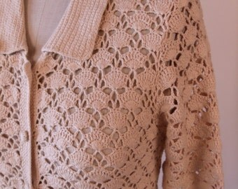Vintage Beige Button Down Sweater. 60's Handmade Crochet Shirt/Sweater. Size M