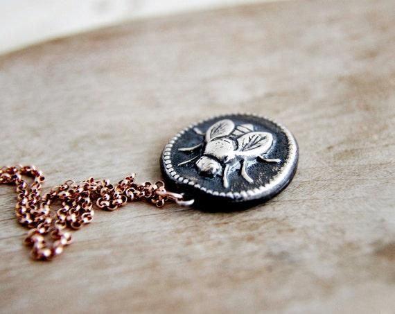 Bee Necklace, Bee Pendant, Honey Bee, Charm Necklace, Bee Charm, Coin Pendant, Rose Gold, Rose Gold Necklace, Nature, Summer Necklace, Honey