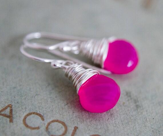 Hot Pink Drop Earrings Silver Chalcedony Neon Dangle Fluorescent PoleStar
