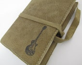 Leather Journal - Leather Sketchbook Cover - Personalized - Monogram - Electric Guitar