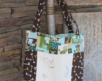 Large Patchwork Tote for Dog Walking - Puppy Dog