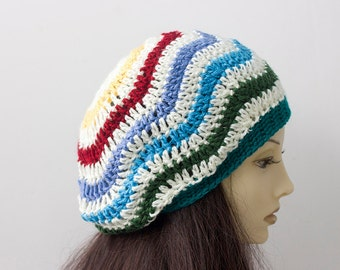 Rainbow Chevron Hat, Slouchy Hat, Hand Crochet Hat, Slouchy Beanie, Striped Vegan Hat, Winter Hat, Winter Accessories, Gift for Her