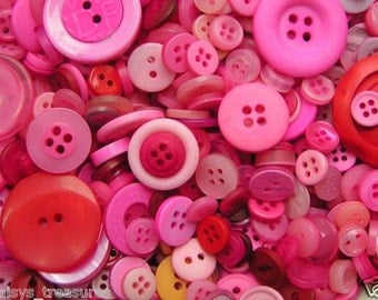 Plastic buttons mixed Pinks colours bag of different sizes plastic button 50g, 100g, 250g or 1kg