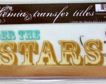 MY MINDS EYE Bohemia Rub On Transfer Title - Scrapbook Embellishment - Under the Stars