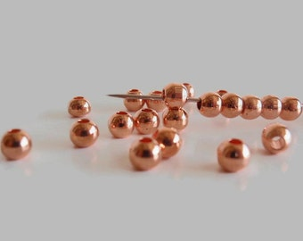 50 Beads, 5 mm Rose Gold, Jewelry making Supply, Round Plated Brass High Luster beads