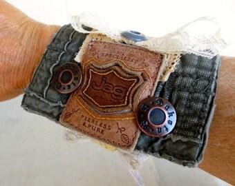 Steampunk Leather Cuff Bracelet Military Bohemian Boho Chic Vintage Lace Wearable Art to Wear Alternative Jewelry