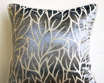 "Paloma Grey Pillows Cover,  Square  Leaf Design Tropical Theme 16""x16"" Burnout Velvet Pillows Covers For Couch - Paloma Gray Leaves"