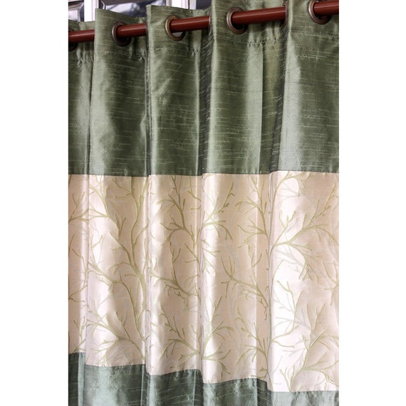 Green tree forest curtain panels 52x96 grommet for Forest green curtains drapes