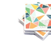 Ceramic Tile Coasters - Abstract Triangles - Set of 4 Coasters
