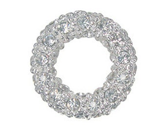 14mm pave crystal ring, Silver with crystals (2)