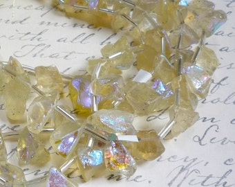 Rainbow Mystic Aura Lemon Quartz  Raw Briolette Beads 8 Inches Nugget Gemstone Druzy