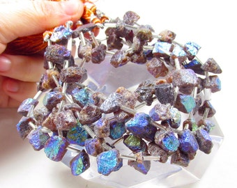 Colorful Rainbow Aura Mystic Mandarin Garnet Raw Nugget Briolette  Beads